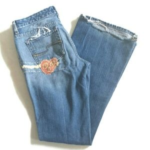 Upcycled Distressed Flared Flower Power Jeans